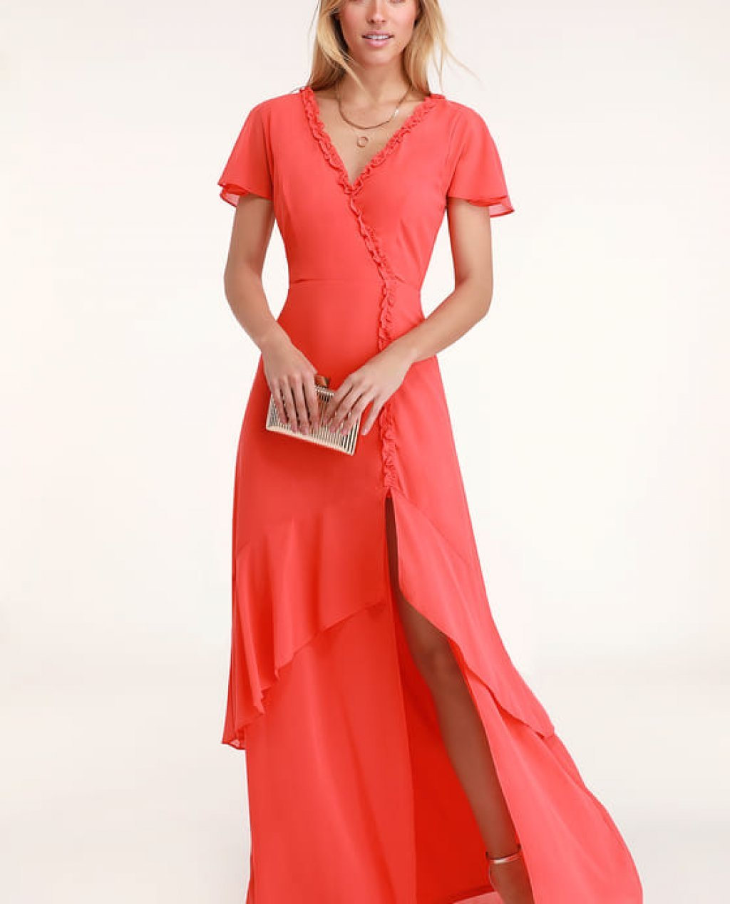 Pour the Champagne Coral Red Ruffled Backless Maxi Dress