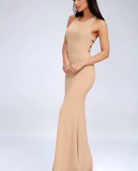 Power of Wow Nude Backless Maxi Dress