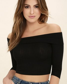 Praiseworthy Black Off-the-Shoulder Crop Top