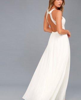 Precious Love White Lace Backless Maxi Dress