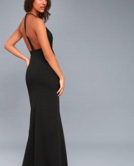 Prima Donna Life Black Lace Backless Maxi Dress