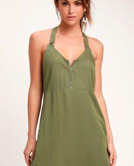 Primrose Olive Green Tank Dress