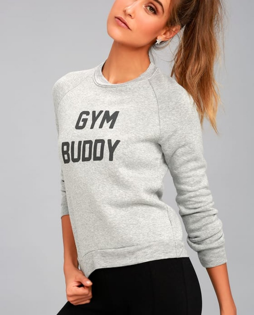 Project Social T Buddy Heather Grey Reversible Sweatshirt