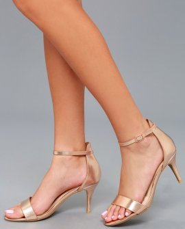 Published Author Rose Gold Ankle Strap Heels