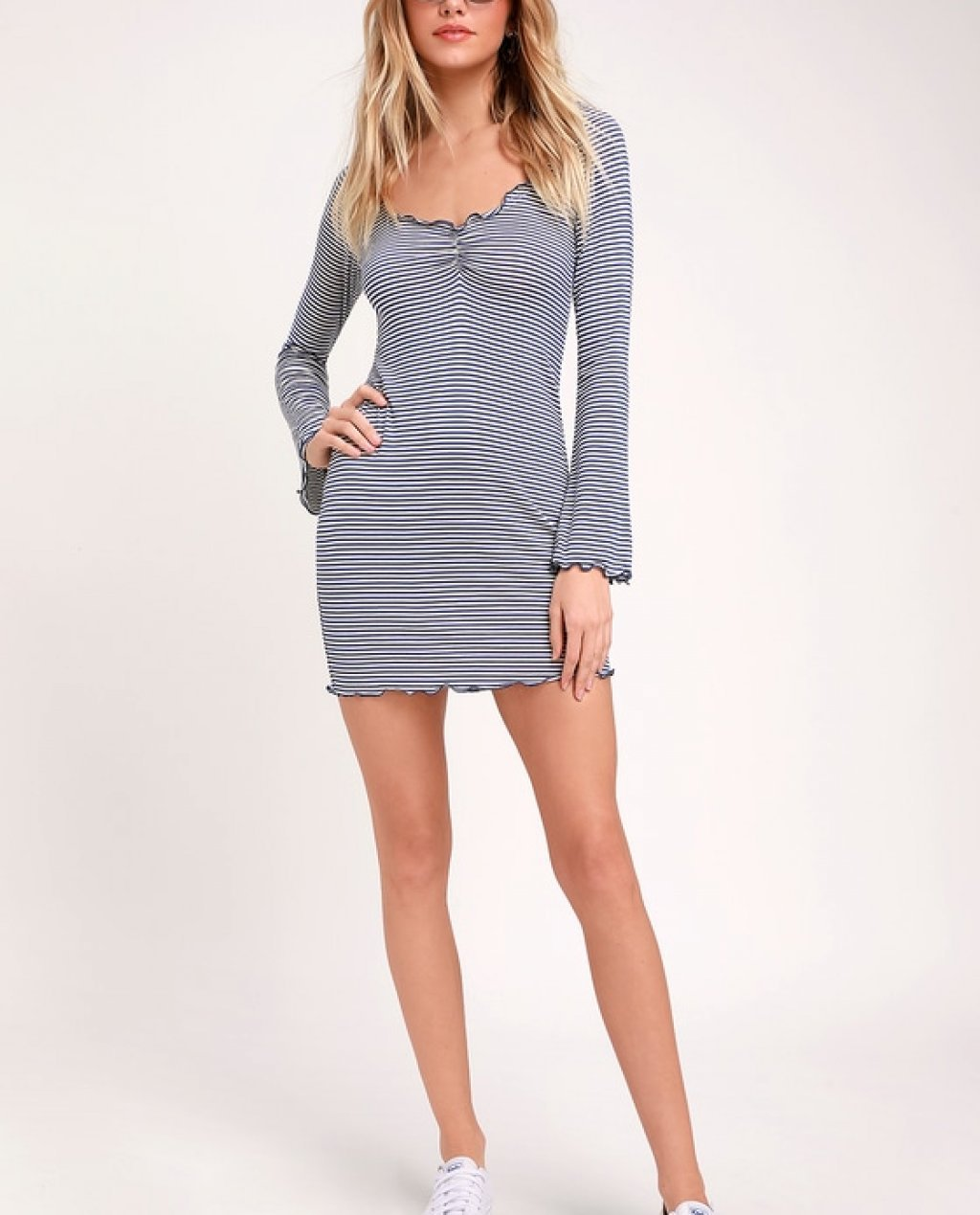 Pucker Blue and White Striped Long Sleeve Bodycon Dress