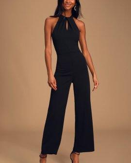 Pure Elegance Black Sleeveless Halter Jumpsuit