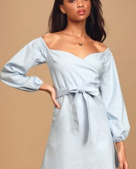 Pure Serenity Light Blue Off-the-Shoulder Puff Sleeve Mini Dress