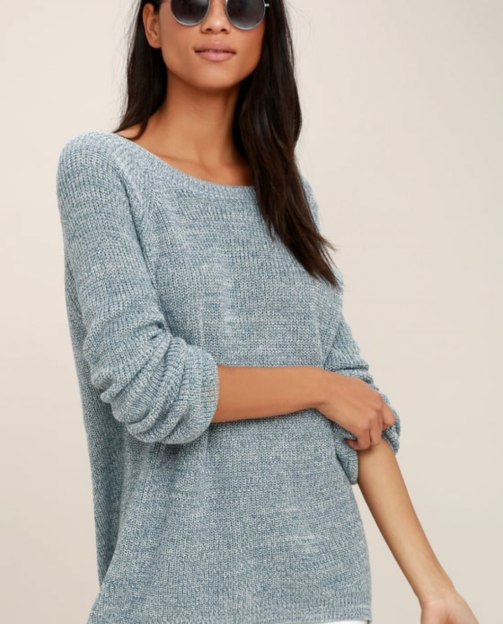 Pursuit of Happiness Heather Blue Backless Sweater