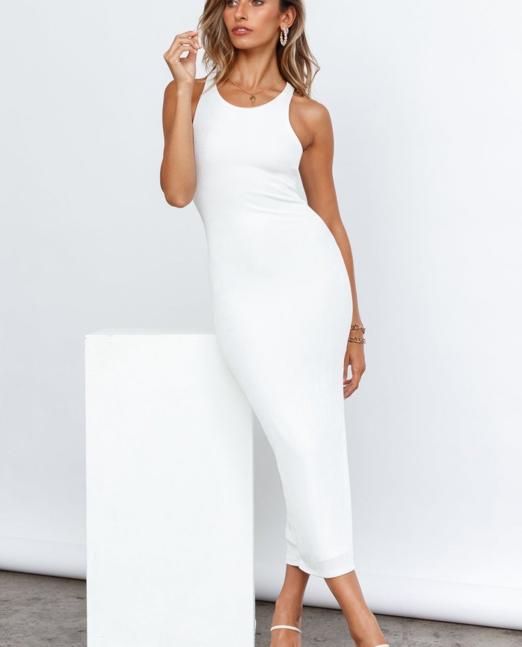Question Time Maxi Dress White