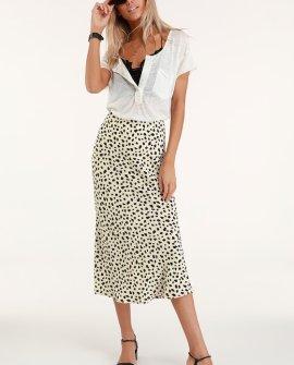 Raichel Beige Leopard Print Midi Skirt