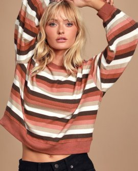 Rainbow Stripe Pullover Rust Red Multi Striped Sweatshirt