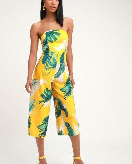 Rainforest Blooms Yellow Print Strapless Midi Jumpsuit