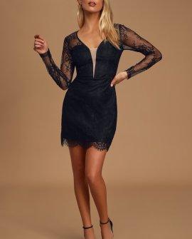 Ready or Hot Black Lace Long Sleeve Bodycon Mini Dress