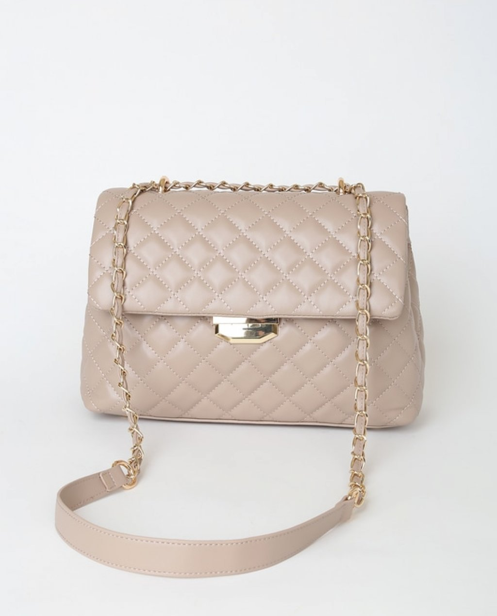 Real Stunner Taupe Vegan Leather Quilted Crossbody Bag