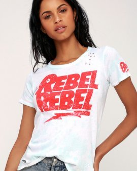 Rebel Rebel Light Blue Tie-Dye Distressed Tee
