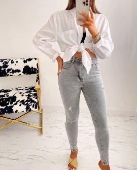 Rebel Ripped Skinny Jeans in Grey