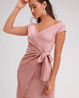 Rebel With a Cause Blush Pink Ribbed Knit Wrap Dress