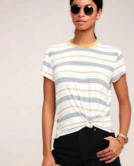 Recess Beige and Golden Yellow Striped Tee