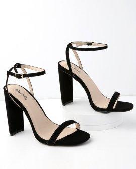 Reese Black Nubuck Ankle Strap Heels