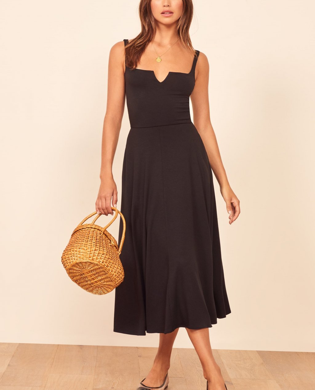 Reformation Zarina Notch Neck Dress