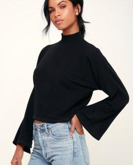 Reid Black Ribbed Mock Neck Sweater Top