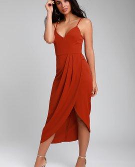 Reinette Rust Red Midi Dress