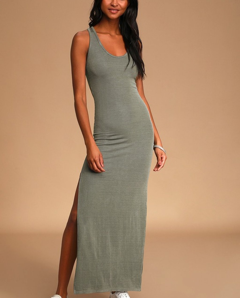Relaxed but Not Least Sage Green Ribbed Sleeveless Maxi Dress
