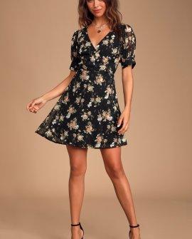 Remi Black Floral Print Chiffon Wrap Dress