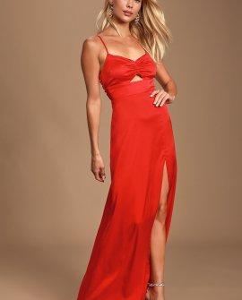 Renata Red Print Satin Maxi Dress
