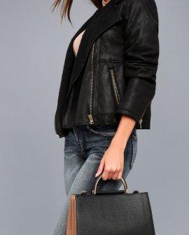 Rheem Light Brown and Black Handbag