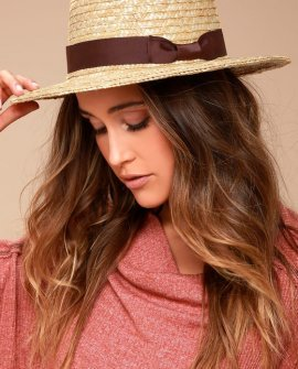 Rhythm Coast Brown and Beige Straw Hat
