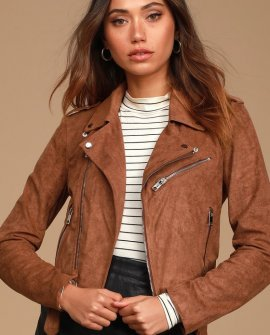 Ride With Me Brown Vegan Suede Moto Jacket