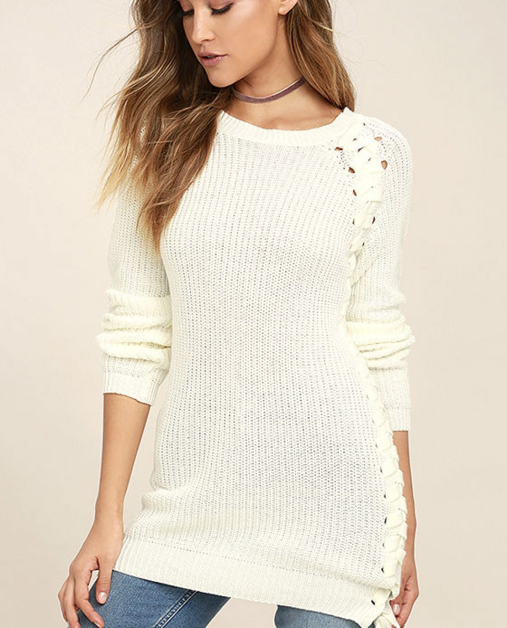 Right Now Cream Lace-Up Sweater