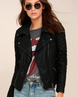 Right On Black Vegan Leather Moto Jacket