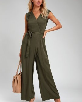 Right to Dream Olive Green Wide-Leg Wrap Jumpsuit