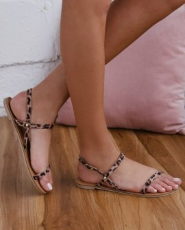Rika Camel Leopard Suede Flat Sandal Heels