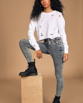 Riley Acid Wash High Rise Seamed Skinny Jeans