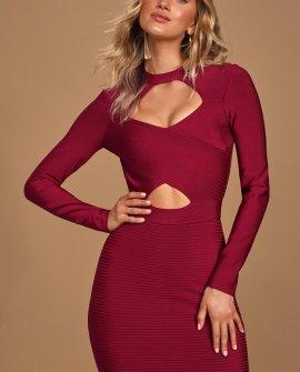 Ring My Line Burgundy Long Sleeve Bodycon Bandage Dress