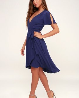 Rise to the Occasion Royal Blue Midi Wrap Dress