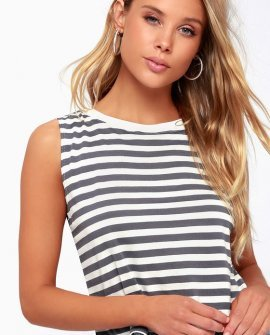 Rita Blue Grey Striped Cropped Muscle Tee