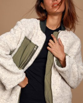 Rivington Olive Green and Ivory Sherpa Jacket