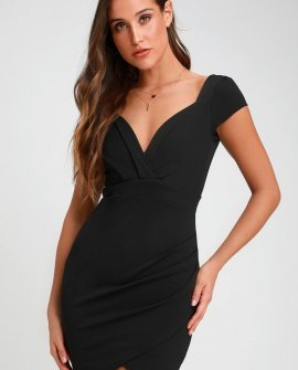 Romantic Endeavor Black Short Sleeve Bodycon Dress