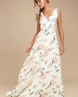 Romantic Possibilities White Floral Print Maxi Dress
