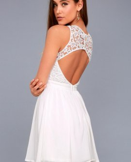Romantic Tale White Lace Skater Dress