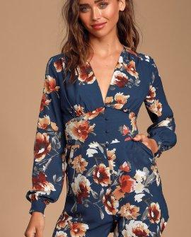 Roosevelt Navy Blue Floral Print Long Sleeve Romper
