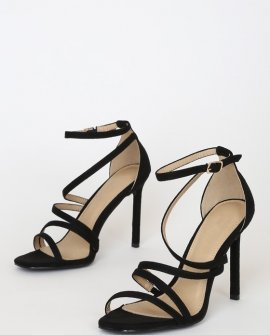 Rorie Black Suede Ankle Strap Heels