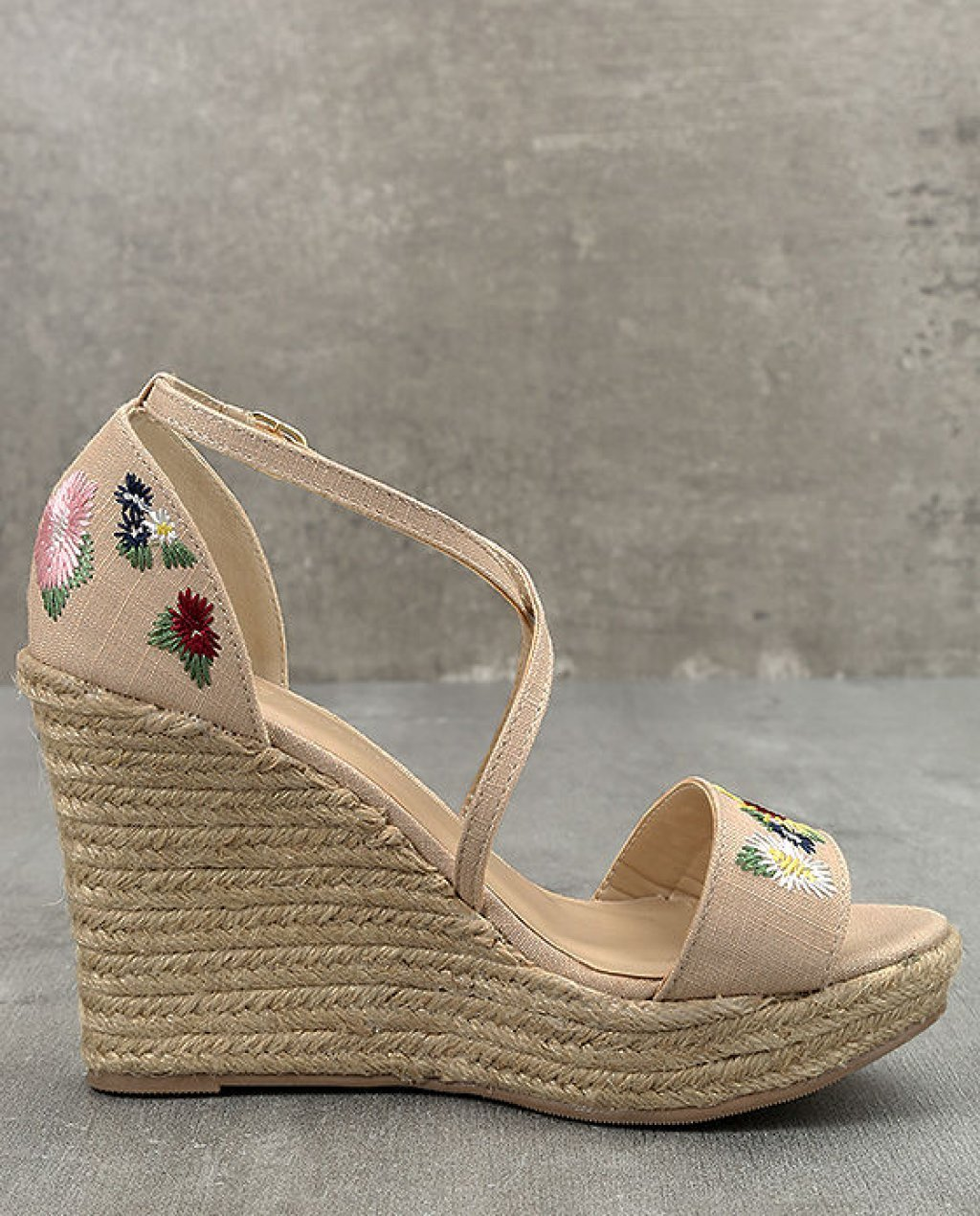 Roselyn Natural Embroidered Espadrille Wedges