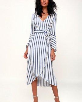 Rosso Blue and White Striped Flounce Sleeve Wrap Midi Dress