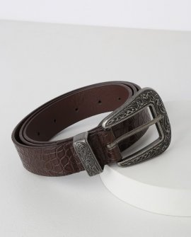 Round 'Em Up Brown Crocodile Embossed Belt