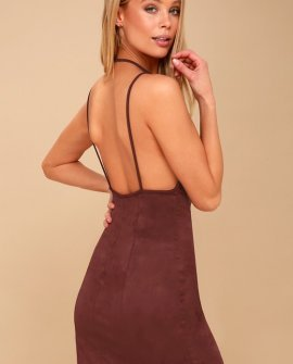 Running Wild Burgundy Suede Bodycon Dress